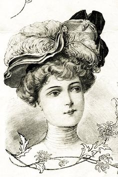 Woman in a hat engraving - Vintage style victorian illustration.  Ephemera for DIY paper crafts, tags, cards, art or decorations. Printables.