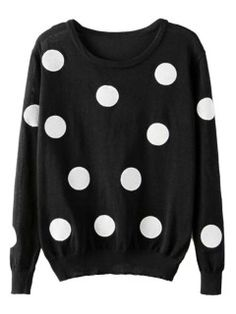 Shop Black Polka Dot Knit Sweater from choies.com .Free shipping Worldwide.$31.99