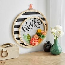While you're stuck in the house, Michaels has great crafting projects and things to do at home to trade boredom for creativity! Felt Crafts, Diy And Crafts, Decor Crafts, Embroidery Hoop Decor, Wooden Embroidery Hoops, Embroidery Jewelry, Hello Design, My New Room, Diy Wreath