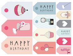11 Sets of Free Printable Gift Tags in All Different Styles: The Pretty Blog's Printable Gift Tags for Birthdays
