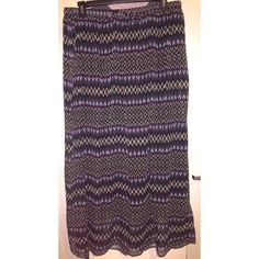 Aztec Print Sheer Maxi Skirt By Fashion Fuse but I purchased it from Alloy. Navy blue, purple, black, and white Aztec print. Sheer, but has a short skirt attached. Drawstring waist. Worn a few times. 100% polyester. ALLOY Skirts Maxi