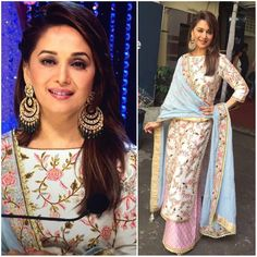 New party Wear Dress Beautiful Top Bollywood Madhuri Dixit Salwar kameez Suit Mode Bollywood, Bollywood Fashion, Bollywood Style, Indian Bollywood, Bollywood Dress, Bollywood Cinema, Indian Attire, Indian Ethnic Wear, Pakistani Outfits