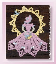 This is a pattern and not the finished product. Available in PDF format for download only. Spring is in the air with our beautiful crochet Easter crinoline decked out in pretty pastels. Standing with the suns rays beaming around, she holds a dainty basket with roses. Embellished with ribbon and a small crochet bluebird! Perfect for spring, for mom, or for Easter. Item # 0740 Medium: 100% cotton thread, size 10 Hook size: Steel size 8 (1.50 mm) Other Materials: 1/2-yd (1/8 W) r...