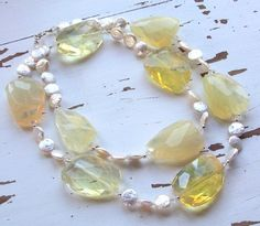The Long & Short of It - No4/Facetede Lemon Quartz Nuggets, FWPearls | miabellacollection-jewelry - Jewelry on ArtFire