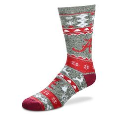 Men's For Bare Feet Alabama Crimson Tide Holiday Crew Socks, Size: Large, Grey