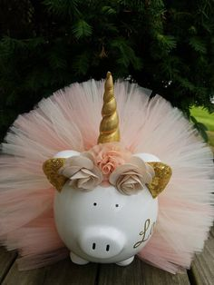 Peach and Ivory Unicorn Tutu Piggy Bank Unicorn Party Decor Ballerina Birthday Parties, Ballerina Party, Tutu Decorations, Unicorn Pig, Diy For Kids, Crafts For Kids, Personalized Piggy Bank, Baby Barbie, Unicorn Halloween
