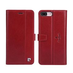 Pierre Cardin Flip Foilo Genuine Leather Wallet Card Slots Case Back Cover for Apple iPhone 7 Plus (Red) -- Awesome products selected by Anna Churchill