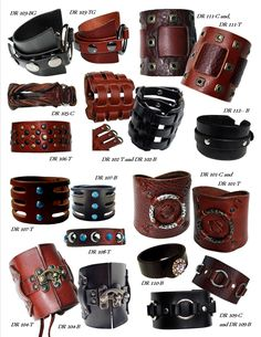 Women's and Men's Unisex Leather Cuffs Bracelets...hand made leather clothing, cuffs, and accessories by Lisa Cantalupo for Sexy Skins Leather  www.mysexyskins.com