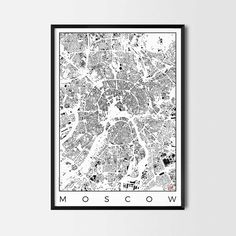 Moscow city map art Poster -Art posters and map prints of your favorite city. Unique design of a map. Perfect for your house and office or as a gift.