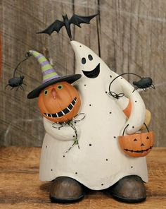 Ghost Holding Pumpkins Figurine : The Official Williraye Studio Store, Folk Art Collectibles and Figurines $37.00