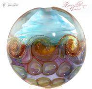 River Dance & Aurae glass lentil bead, handmade lampwork with Double Helix Glass.