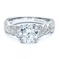 Diamond Split Shank Engagement Ring with Matching Wedding Band - Kirk Kara