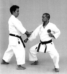 Two-handed pressing block, backfist strike