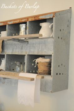 Nesting box turned into shelving, storage! Farmhouse Friday - Galvanized and Metal Decor - Knick of Time. I have one of these-will use in the kitchen when the barn is renovated! Country Decor, Rustic Decor, Western Decor, Vintage Country, Storage Shelves, Shelving, Box Storage, Cubbies, Shelf