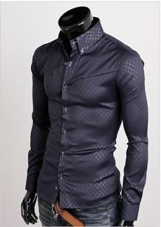 Men 's Button Down Shirt with Plaid Designs