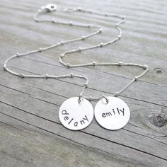 Mom Necklace  Sterling Silver Engraved Kids by CamileeDesigns, $42.00