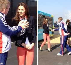 Kate Middleton's preppy look at Olympic Park: Emilio Pucci blazer, coral jeans from Asda