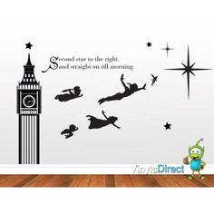 peter pan silhouette | Peter Pan Silhouette Wall Decal Peter pan big ben wall decal