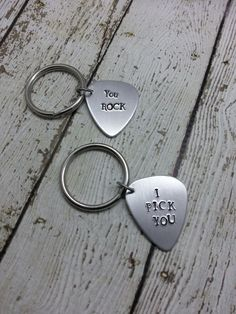 Hand Stamped Key Ring-Personalized Guitar by UnderHerSpellDesigns