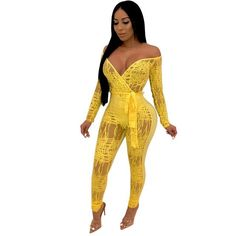 Sexy Off Shoulder Print Long Sleeve Bodycon Bandage Casual Long Rompers Jumpsuit Belt Yellow Jumpsuit, Casual Jumpsuit, Mesh Jumpsuit, Rompers Women, Jumpsuits For Women, Off Shoulder Jumpsuit, Long Romper, Mesh Long Sleeve, Bodycon