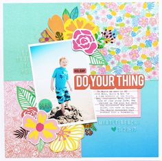 Scrapbook Layouts | Summer Scrapbooking Page | 12X12 Layout | Creative Scrapbooker Magazine  #summer #scrapbooking