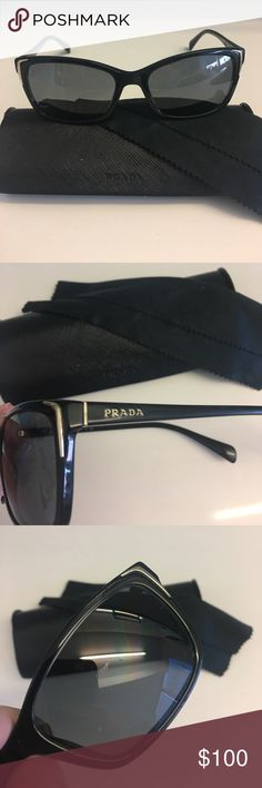 Prada sunglasses black with -1 prescription Glasses in great condition (see lense scratch pictured). Damage to the case (all pictured) due to it constantly being in my bag. Also comes with cleaner. Prada Accessories Glasses