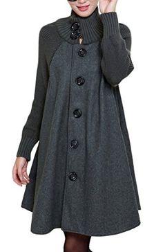 Voguees Women's Knit Wool Coat Turtleneck Button Down Overcoat Grey M Voguees Women Coat http://www.amazon.fr/dp/B014R89UGU/ref=cm_sw_r_pi_dp_Z9Ezwb006MG40