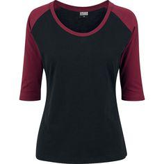 RED by EMP - Ladies Contrast Raglan Tee - Girls longsleeve - black-burgundy - Size: Large Raglan Shirts, T-shirt Raglan, Mode Alternative, Alternative Fashion, Urban Tees, Lady, Hugo Boss, Urban Classics, Herren T Shirt