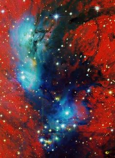 NGC 6914 Nebulae is about 6000 ly away, toward Cygnus & the plane of our Galaxy. The view spans nearly 50 ly. UV radiation from the massive/ hot/ young stars of Cygnus OB2 ionize the region's atomic hydrogen gas, producing a characteristic red glow as protons & electrons recombine. Embedded Cygnus OB2 stars also provide the blue starlight reflected by the dusty clouds.