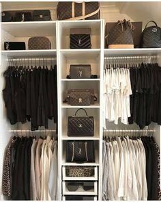 Wardrobe Room, Closet Bedroom, White Wardrobe, White Closet, Closet Space, Bag Closet, Closet Office, Girl Closet, Girls Wardrobe
