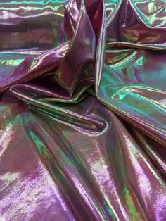 Iridescent Pink, Green, Gold, Purple  Shiny Mystic Or  Metallic Foggy Foil on Spandex  Fabric sold by the yard by la20fabrics on Etsy