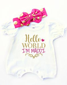Personalized baby clothes aunt gift auntie gift new baby gift new baby gift romper hello world with name you choose color negle Image collections