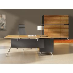 400 Series Executive Desk & Left Credenza Zebrano