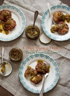 Crispy Quinoa Fritters with Green Tomato Chutney