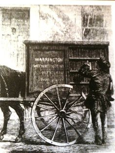 Warrington Perambulating Library (one of the earliest recorded bookmobiles), Warrington England, 1859.
