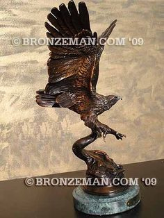 """Magnificent """"Eagle"""" sculpture after Jules Moigniez! Great for your home or office. Call the Bronzeman today at (877) 528-2531."""