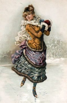 Vintage Winter skating - Also see N. Victorian Christmas, Vintage Christmas Cards, Christmas Images, Vintage Cards, Ice Skating Images, Skating Pictures, Love Vintage, Vintage Winter, Vintage Pictures