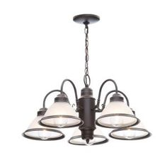 Commercial Electric Halophane 5-Light Oil Rubbed Bronze Chandelier WB0390/ORB at The Home Depot - Mobile