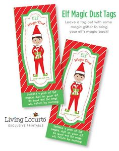 Elf Magic Dust - Printable Tags. Directions on how to bring back an Elf on the Shelf's magic! Exclusive design by LivingLocurto.com