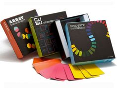 Funnybone Learning Games  --  These modern, minimalist card games are based on the color spectrum. All three games challenge players to be the first to get rid of all their cards.  --  Cool game for an ART TEACHER.