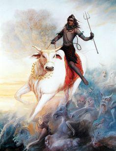 Shiva en su toro Nandi con sus seguidores fantasmales en el fondo
