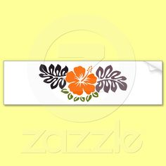 Orange Hibiscus and Leaves Bumper Sticker from Zazzle.com