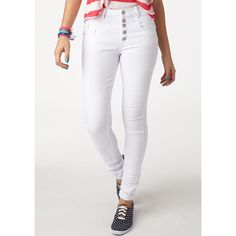 White High Waist Skinny Jean ($40) ❤ liked on Polyvore