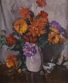 Still Life of Mixed Summer Flowers ~ David Alison Flower Paintings, White Vases, Summer Flowers, Still Life, David, Artists, Fine Art, Paintings Of Flowers, Visual Arts