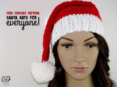 Crochet Baby Hats Free Pattern ♥️ Santa Hats For Everyone ♥️ available in sizes baby to adult using Red Heart Super Saver Yarn. Crochet Santa Hat, Crochet Christmas Hats, Christmas Crochet Patterns, Holiday Crochet, Crochet Baby Hats, Easy Crochet Patterns, Free Crochet, Crochet Ideas, Crochet Headbands