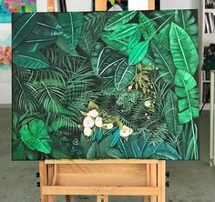 Excellent simple ideas for your inspiration Plant Painting, Plant Art, Painting & Drawing, Jungle Art, Tropical Art, Leaf Art, Botanical Art, Painting Inspiration, Amazing Art