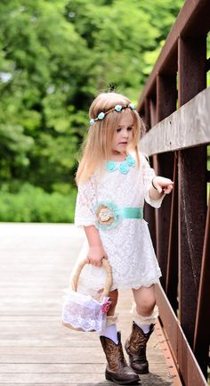 The Simply Grace White Lace Flowergirl Dress with di KateGraceRose