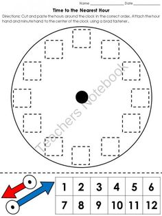 Time: Clock Cut and Paste Activity - Telling Time to the Nearest Hour from King Virtue on TeachersNotebook.com - (1 page) - Time: Clock Cut and Paste Activity - Telling Time to the Nearest Hour Time can be a difficult concept for students to understand. Make this unit a little easier for your little ones with this cut and paste activity! Fun and engaging! Copy and laminate c