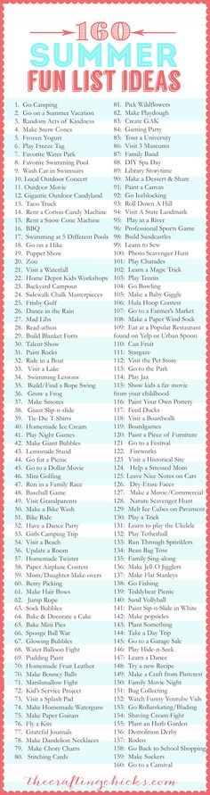 160 Summer Fun List IDEAS!