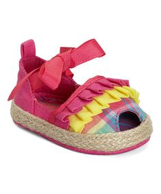 Another great find on #zulily! Pink Plaid Ruffle Peep-Toe Espadrille #zulilyfinds